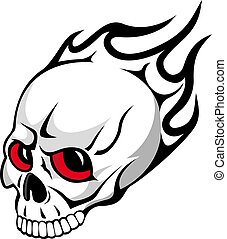 Danger evil skull with flames as a tattoo isolated on white
