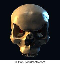 evil skull on dark background 3d illustration