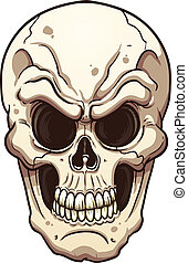 Evil skull. Vector clip art illustration with simple ...