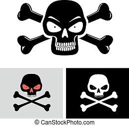 evil skull with bones