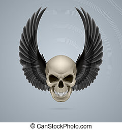 Evil skull with wings up