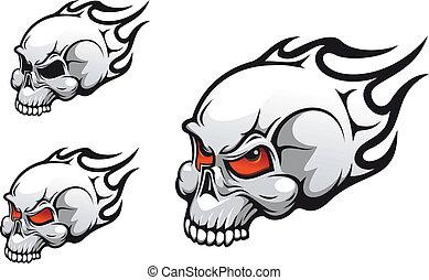 Evil skulls - Danger evil skulls as a tattoo isolated on...