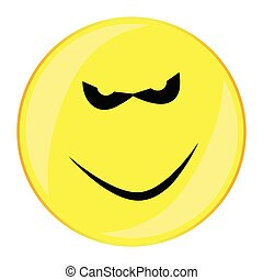 Evil Smile Face Button Isolated