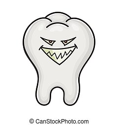 Evil smiling grin tooth cartoon isolated on white