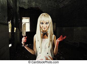 Evil smiling woman -  doll  killer