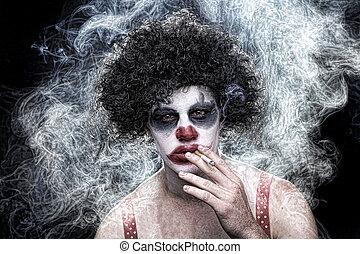 Spooky Clown Portrait on Black Background - Evil Spooky...