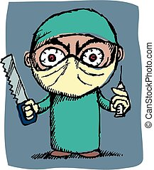 Cartoon image of an evil surgeon with large saw.