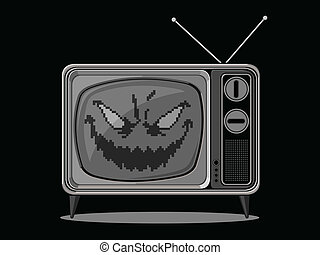 Evil Television - A vector of a television with an evil face...