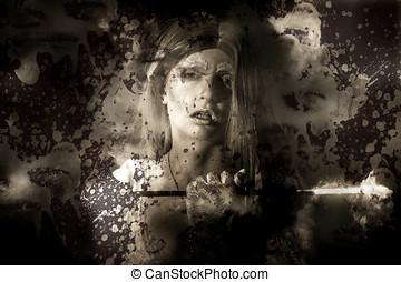 Evil vampire woman looking into bloody mirror - Dark fantasy...
