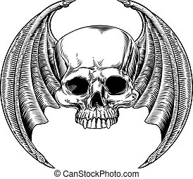 Evil Winged Skull - Winged skull with bat or dragon wings...