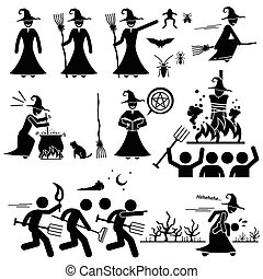 Human pictogram representing witch. The witch is making witchcraft and black magic. She can fly with a broomstick. Witch cook with a cauldron. She kidnap small child and baby. Villager launch witch hunt to capture the witch and she was burned alive at the end.