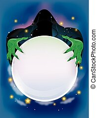 Evil Wizard Crystal Ball - Illustration of an Evil Wizard...