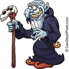 Evil wizard - Evil cartoon wizard. Vector clip art...