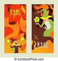 Evil wizard, mage, old sorcery, toxic fire ball, flat vector...