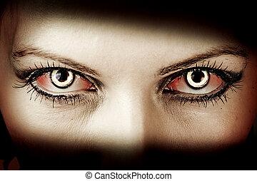 Evil zombie eyes - Evil bloody female zombie eyes. dirt make...