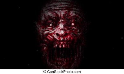 Evil zombie face on black background. Scary monster...
