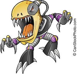 Evil Zombie Undead Cyborg Vector Art