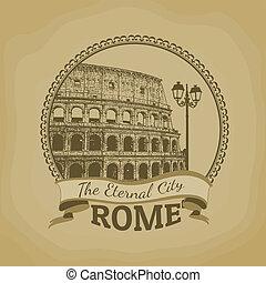 evinnerlig, rom, (, affisch, city)