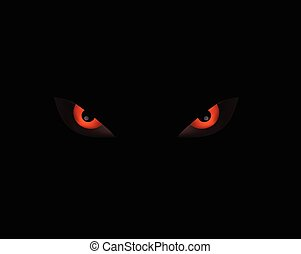evli angry eye on dark black background