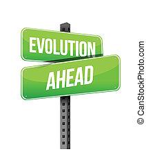 evolução, à frente, sinal estrada, ilustração, desenho