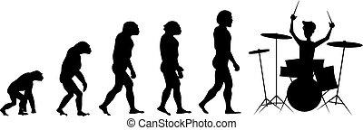 evolução, baterista, silueta, fundo branco