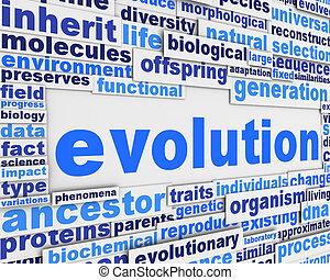 evolução, cartaz, fundo, desenho
