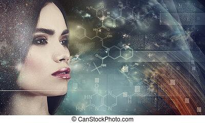evolução, ciência, abstratos, fundos, contra, femininas,...