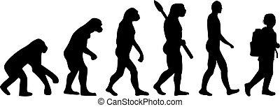 evolução, criança, pupila, escola