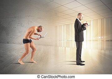 evolução, de, homem negócios