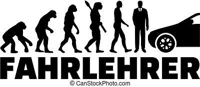 evolução, dirigindo, título, alemão, trabalho, instrutor