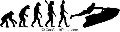 evolução, esqui, jato