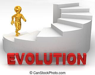 evolução, homens, escadas., 3d