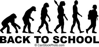 evolução, pupila, -, escola, costas