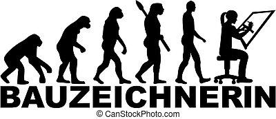 evolução, título, alemão, trabalho, desenhador, femininas