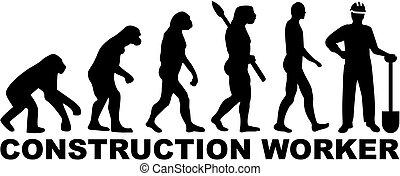 evolução, trabalhador construção