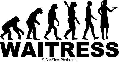evolução, trabalho, garçonete, título