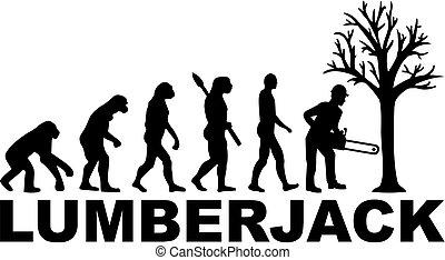 evolução, trabalho, lumberjack, título
