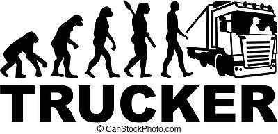 evolução, trucker, trabalho, título