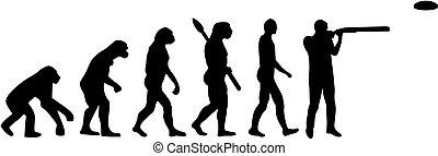 evolución, disparando, trampa