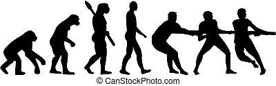 evolución, guerra, tirón