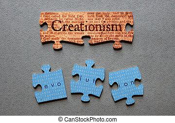 evolución, mismatc, igual, creationism