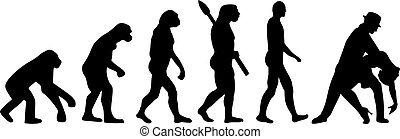 evolución, pareja, tango, bailando