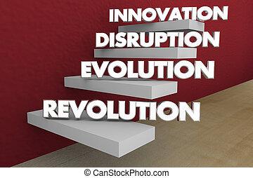 evolución, revolución, ilustración, interrupción, pasos, palabras, innovación, 3d