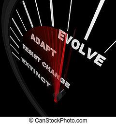 evoluir, -, velocímetro, trilhas, progresso, de, mudança