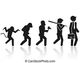 evolutie, figuur, pictogram, stok, pictogram, man
