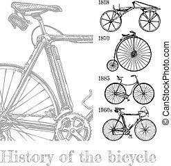 evolutie, set, fiets