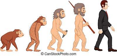 evolutie, spotprent, menselijk