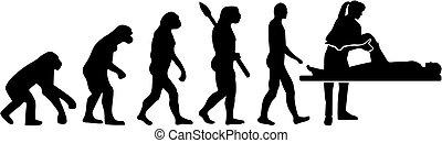 evolutie, therapist, vrouwlijk, lichamelijk