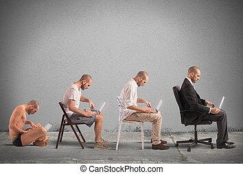 Evolution a businessman - Concept of evolution and success...