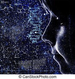 evolution., backrounds, tudomány, elvont, női, portré